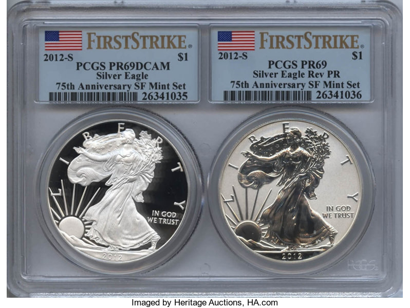 2012 S Silver Eagle Coin /& Currency Set Proof PCGS PR 69