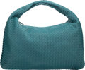 "Luxury Accessories:Bags, Bottega Veneta Teal Intrecciato Nappa Leather Hobo Bag.Excellent Condition. 18"" Width x 12"" Height x 2""Depth. ..."