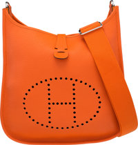 Hermes Feu Clemence Leather Evelyne III GM Bag with Palladium Hardware R Square, 2014 Excellent Condition