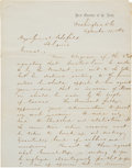Autographs:Military Figures, [Abraham Lincoln]. An Important Letter Signed by General HenryHalleck Concerning Lincoln's Directive against Quantrill's Rai...