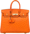 "Luxury Accessories:Bags, Hermes 25cm Tangerine Ostrich Birkin Bag with Gold Hardware. J Square, 2006. Very Good Condition. 9.5"" Width x 8"" ..."