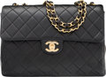 "Luxury Accessories:Bags, Chanel Black Quilted Lambskin Leather Jumbo Flap Bag with GoldHardware. Very Good Condition. 12"" Width x 8"" Height x..."