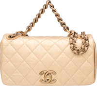 Chanel Limited Edition Paris-Bombay Metallic Gold Quilted Distressed Leather Pondichery Bag with Gold Hardware