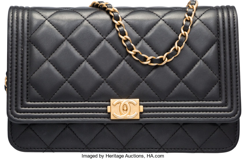 6c1c3a7c68 ... Luxury Accessories:Bags, Chanel Black Quilted Lambskin Leather Boy  Wallet on Chain Bag withGold ...