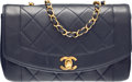 "Luxury Accessories:Bags, Chanel Navy Blue Quilted Lambskin Leather Small Diana Flap Bag withGold Hardware. Very Good to Excellent Condition. 9"" Wi..."