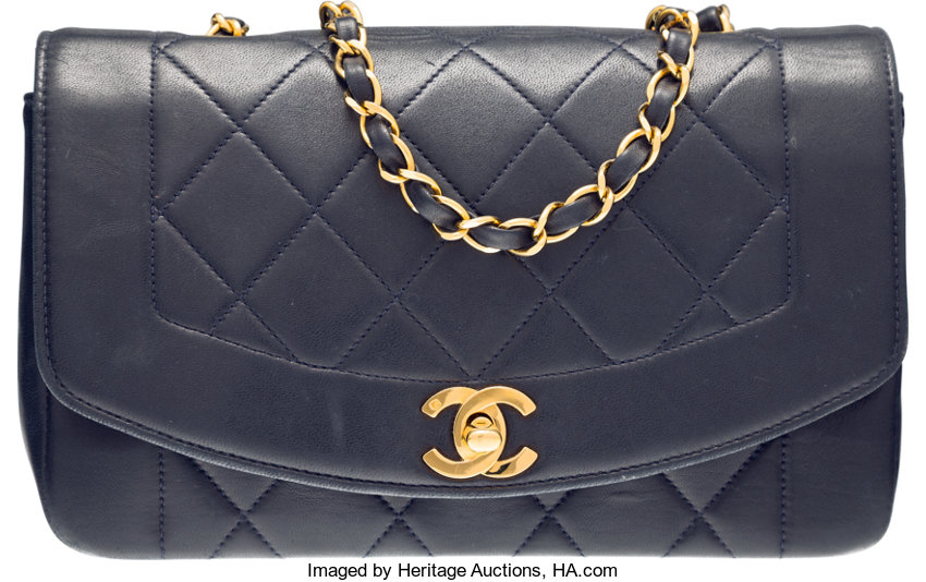 Chanel Navy Blue Quilted Lambskin Leather Small Diana Flap Bag  f62c994f469ac