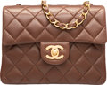 "Luxury Accessories:Bags, Chanel Brown Quilted Lambskin Leather Mini Single Flap Bag withGold Hardware. Excellent Condition. 7"" Width x 5""Heig..."