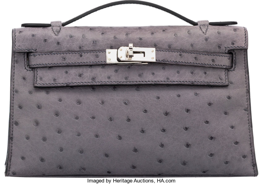 7c64e561374e Hermes Gris Agate Ostrich Kelly Pochette Bag with