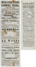 Miscellaneous:Ephemera, Civil War Era Theater. Two Boston Academy of Music Playbills, 1862....