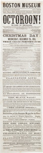 Miscellaneous:Ephemera, Civil War Era Theater. 1861 Boston Museum Playbill for TheOctoroon....