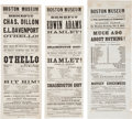 Miscellaneous:Ephemera, Civil War Era Theater. Three Boston Museum Playbills FeaturingShakespeare, 1861-1863....