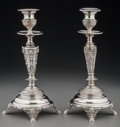 Silver Holloware, Continental:Holloware, A Pair of Pogorzelski Polish-Russian Silver Candlesticks, Minsk,Belarus, circa 1887. Marks: POGERZELSKI, O.C., 1887,...(Total: 2 Items)