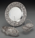 Silver Holloware, British:Holloware, A William Comyns Silver Reticulated Basket, Box and Plate London,England, circa 1898-1908. Marks: (lion passant), (leopard'...(Total: 3 Items)