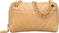 "Chanel Beige Chevron Quilted Lambskin Leather Camera Bag with Gold Hardware Good to Very Good Condition 8"" W"