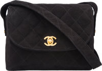 Chanel Black Quilted Suede Mini Flap Bag with Gold Hardware Very Good to Excellent