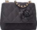 "Luxury Accessories:Bags, Chanel Black Quilted Satin Camellia Evening Bag with Gold Hardware.Very Good to Excellent Condition. 6"" Width x 5"" Height..."