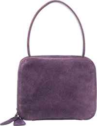 "Chanel Purple Suede Top Handle Bag with Gunmetal Hardware Good to Very Good Condition 8"" Width x"