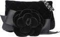 "Luxury Accessories:Bags, Chanel Black Quilted Velvet & Satin Camellia Clutch with SilverHardware. Excellent Condition. 7"" Width x 4"" Height x 1""D..."