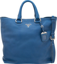 "Prada Blue Leather Daino Tote with Silver Hardware Pristine Condition 14"" Width x 16"" Height x 5.5"" Depth"