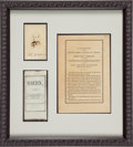 Political:Presidential Relics, Abraham Lincoln: A Unique Silk Ribbon Worn by Honorary Pall Bearer Senator Ben Wade of Ohio, Along with a Scarce Autographed C...