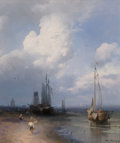 Fine Art - Painting, American:Antique  (Pre 1900), Hermann Ottomar Herzog (American, 1832-1932). Dutch CoastalScene. Oil on canvas. 16 x 14 inches (40.6 x 35.6 cm). Signe...