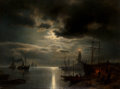 Fine Art - Painting, American:Antique  (Pre 1900), Hermann Ottomar Herzog (American, 1832-1932). A MoonlitHarbor, 1867. Oil on canvas. 36 x 48 inches (91.4 x 121.9 cm)....