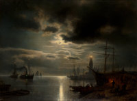 Hermann Ottomar Herzog (American, 1832-1932) A Moonlit Harbor, 1867 Oil on canvas 36 x 48 inches