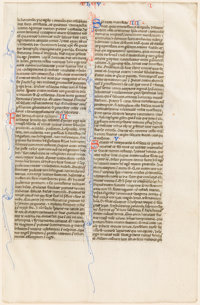 [Manuscript]. 13th Century Leaf from St. Jerome Vulgate Bible, The Book of Timothy. [Rhineland]: Circa 1275