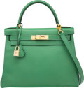 Luxury Accessories:Bags, Hermes 28cm Vert Bengale Courchevel Leather Retourne Kelly Bag with Gold Hardware . A Square, 1997. Very Good to Excel...