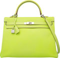 Luxury Accessories:Bags, Hermes Limited Edition Candy Collection 35cm Kiwi Epsom Leather& Vert Veronese Retourne Kelly Bag with Palladium Hardware. ...