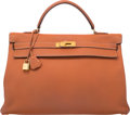 Luxury Accessories:Bags, Hermes 40cm Etrusque Clemence Leather Retourne Kelly Bag with GoldHardware. A Square, 1997. Very Good Condition....