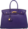 "Luxury Accessories:Bags, Hermes 35cm Iris Clemence Leather Birkin Bag with Gold Hardware. N Square, 2010. Very Good Condition. 14"" Width x 10"" Heig..."
