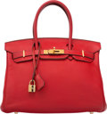 "Luxury Accessories:Bags, Hermes 30cm Vermillion Clemence Leather Birkin Bag with GoldHardware. I Square, 2005. Good to Very Good Condition. 12""Wi..."