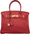 "Luxury Accessories:Bags, Hermes 30cm Rouge Garance Clemence Leather Birkin Bag with GoldHardware. J Square, 2006. Very Good Condition.12""..."