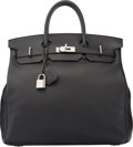 "Luxury Accessories:Bags, Hermes 40cm Black Clemence Leather HAC Birkin Bag with Palladium Hardware. R Square, 2014. Excellent Condition. 15.5"" Widt..."