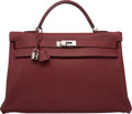 Luxury Accessories:Bags, Hermes 40cm Rouge H Fjord Leather Retourne Kelly Bag with Palladium Hardware. E Square, 2001. Very Good to Excellent Condi...