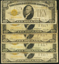 Small Size:Gold Certificates, Fr. 2400 $10 1928 Gold Certificates. Five Examples. Good or Better.. ... (Total: 5 notes)