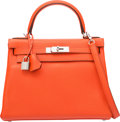 Luxury Accessories:Bags, Hermes 28cm Orange Poppy Clemence Leather Retourne Kelly Bag withPalladium Hardware . T, 2015 . Pristine Condition ...