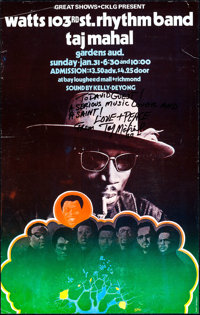 """Taj Mahal at Gardens Auditorium (Great Shows/CKLG, 1971). Autographed Concert Poster (14"""" X 22""""). Rock and Rol..."""