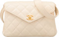 "Luxury Accessories:Bags, Chanel White Quilted Lambskin Leather Envelope Flap Bag with GoldHardware. Good to Very Good Condition. 9"" Width x7""..."