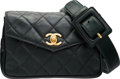 """Luxury Accessories:Bags, Chanel Green Quilted Lambskin Leather Envelope Waist Bag with GoldHardware. Very Good Condition. 7"""" Width x 5""""Height..."""