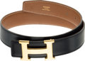 "Luxury Accessories:Accessories, Hermes 65cm Gold Courchevel & Black Calf Box Leather Belt withGold H Buckle. Z Circle, 1996. Very Good Condition. 31""Len..."