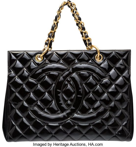 adc338a37b15 Chanel Black Patent Leather Grand Shopping Tote Bag with