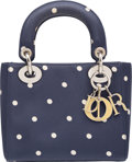 "Luxury Accessories:Bags, Christian Dior Navy Polka Dot Silk Mini Lady Dior Bag . VeryGood Condition. 6.75"" Width x 6"" Height x 2.75"" Depth. ..."