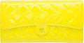 "Luxury Accessories:Accessories, Chanel Yellow Quilted Patent Leather Matelasse Clutch Bag with Silver Hardware. Excellent to Pristine Condition. 8.5"" Widt..."