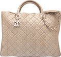 "Luxury Accessories:Bags, Chanel Gray Quilted Snakeskin Tote Bag. Very Good Condition.15"" Width x 12"" Height x 4.5"" Depth. ..."