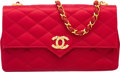 "Luxury Accessories:Bags, Chanel Red Quilted Satin Shoulder Bag. Very Good to ExcellentCondition. 8.5"" Width x 5"" Height x 2"" Depth. ..."