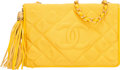 "Luxury Accessories:Bags, Chanel Quilted Yellow Satin Shoulder Bag. Excellent Condition.8"" Width x 5"" Height x 1.5"" Depth. ..."