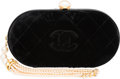 Luxury Accessories:Bags, Chanel Black Quilted Velvet, Glass Pearl & Silver Crystal OvalClutch Bag with Gold Hardware. Very Good to ExcellentCondi...