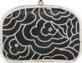 """Luxury Accessories:Bags, Judith Leiber Full Bead Black & Silver Crystal MinaudiereEvening Bag. Very Good Condition. 6.5"""" Width x 4.5"""" Height x 1""""..."""